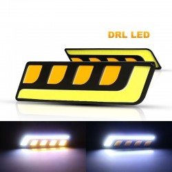 COB - DRL - running car light - feather / round - U-shaped - 12V - 2 pieces