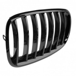 Front kidney grill - dual slat - gloss black - for BMW cars / 5 Series - 2 pieces