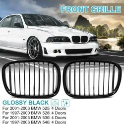 Voorste niergrill - dubbele lamellen - glanzend zwart - voor BMW auto's / 5-serie - 2 stuks
