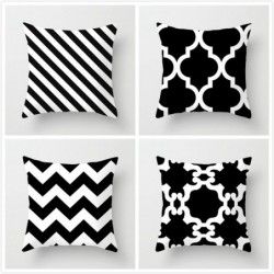 Grid printed cushion cover - Black and White - geometric style - ideal for bed - sofa - car