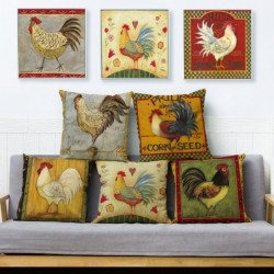 Vintage design rooster chicken print cushion cover - 45*45  - linen - home decor