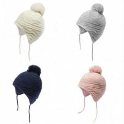 Dzianinowa czapka - z ochroną uszu / pompon - dla dziewczynek / chłopców
