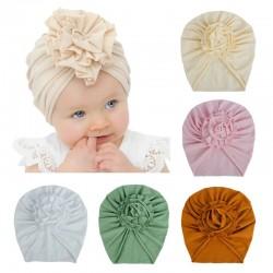 Cienka czapka / turban z węzłem kwiatowym - dla dziewczynek