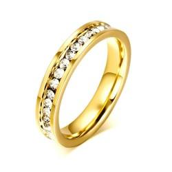 Luksusowy pierścionek z cyrkoniami - stal nierdzewna - 4mm