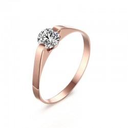 Pierścionek z różowego złota - stal szlachetna - z cyrkonią