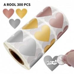 Etykiety w kształcie serca - naklejki zdrapki - 2,5 cm - 300 sztuk