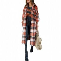 Płaszcz vintage w kratę - długa koszula - z guzikami / kieszeniami