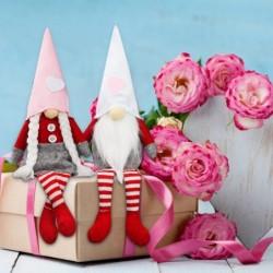Walentynkowy krasnal z długimi nogami - pluszowa lalka - 2 sztuki
