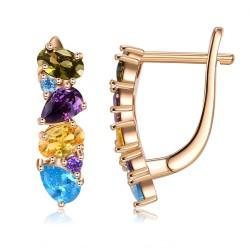 Eleganckie kolczyki sztyfty - z kolorowymi kryształkami