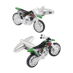 Fashionable cufflinks with green motorcycle
