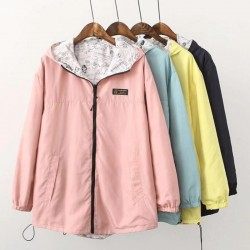 Spring / autumn hooded jacket - two sided - with zipper - cartoon print