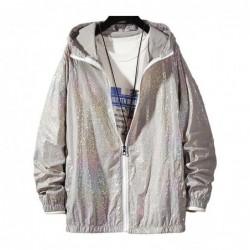 Colorful women's bomber - thin windbreaker - hooded reflective jacket