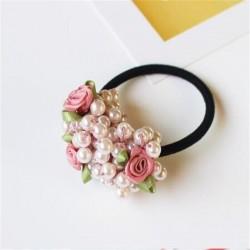 Elegancka gumka do włosów - z kwiatkami / perełkami