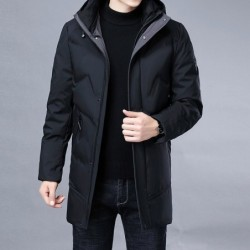 Luxurious warm winter jacket - long parka - with hood - duck down
