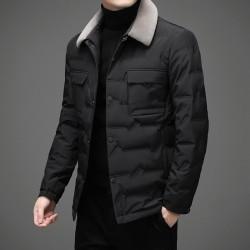 Modna ciepła krótka kurtka - puchowa wiatrówka - z odpinanym futrzanym kołnierzem