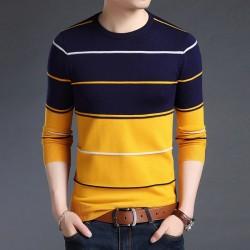 Elegancki męski sweter w paski - slim fit