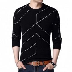 Modny ciepły sweter - dopasowany krój - nadruk w geometryczne linie