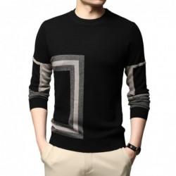 Modny ciepły sweter męski - dzianina wełniana - geometryczny nadruk