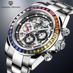 Pagani Design - montre à quartz de luxe avec design arc-en-ciel