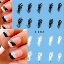 Black White Feather Nail Art Decal Stickers