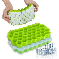 Silicone ice cube tray - honeycomb shaped - reusable - with removable lid