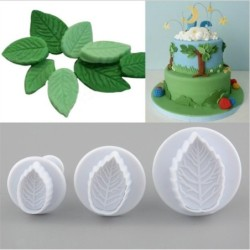 Cookie cutter mold - decorative icing plunger - leaf shape - 3 pieces