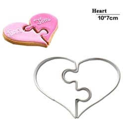 Cookie cutter mold - heart shaped puzzle - stainless steel - 2 pieces