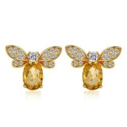 Elegant stud earrings - crystal bee