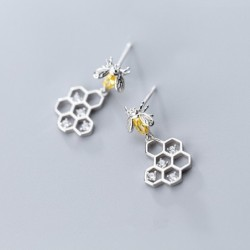 Fashionable earrings - bee / honeycomb - 925 sterling silver