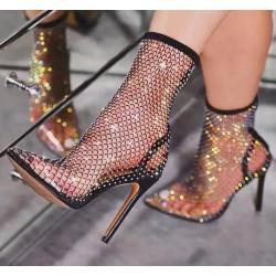 Sexy mesh laarzen met hoge hakken - transparante halfhoge laarzen