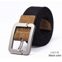 Pin Buckle Canvas Knitted Strap Casual Striped Men's Belt
