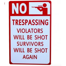 No Trespassing Metal Sign Poster 20 * 30 cm*