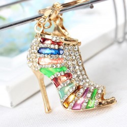 Crystal High Heel Pump Shoe Pendant Keyring