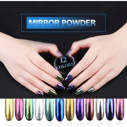 Magic Powder UV Gel nail glitter mirror effect 12pcs