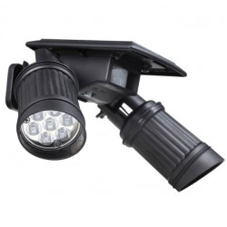 14 LED solar lamp PIR motion sensor dual head spotlight waterproof wall light