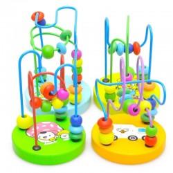 Kolorowe drewniane mini dookoła koraliki dziecięca zabawka edukacyjna