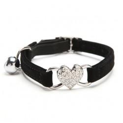 Heart Charm & Bell Dog Cat Adjustable Collar