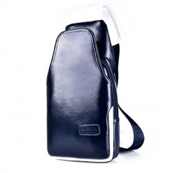 Men's PU Leather Waterproof Shoulder Crossbody Backpack