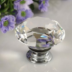 30mm Diamond Crystal Glass Alloy Door Drawer Wardrobe Pull Handle Knob