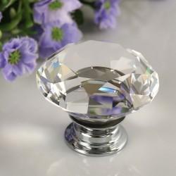 30mm Kryształ Diament Szkło Aluminium Uchwyt Do Dzwi Szafy Szuflady Pokrętło