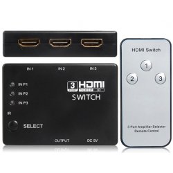 3 à 1 HDMI Switcher Incl. Control Remote