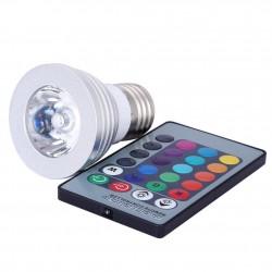 Ampoule LED avec Télécommande 3W E27 E14 GU10 RGB LED