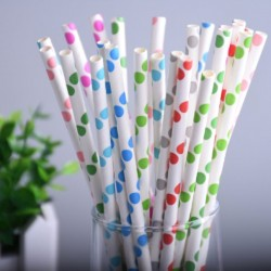 Kolorowe Kropki Duże Papierowe Słomki Rurki Do Picia 25szt