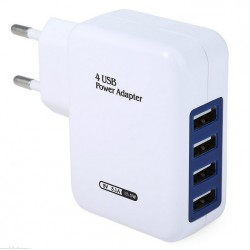 EU Plug 4 USB Ports Wall Charging Adapter