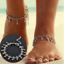 Vintage Antik Silber Blume Perlen Fußkettchen Armband