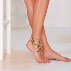 Gouden Meerlagige Kwastjes Ketting Enkel Armband