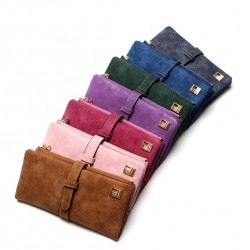 Nubuck Leather Zipper Design Women's Long Purse Wallet