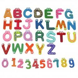 Lettres et Numéros en Bois Magnétiques Colorés pour Réfrigérateur 36 pièces