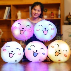 Colorful Round Smiling Face Plush Pillow Luminous Led Light Cushion
