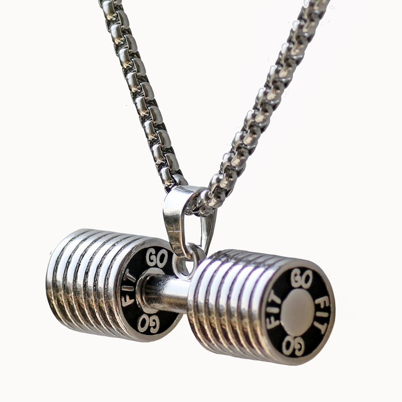 Mens stainless steel dumbbell pendant necklace store aruba mens stainless steel dumbbell pendant necklace aloadofball Choice Image